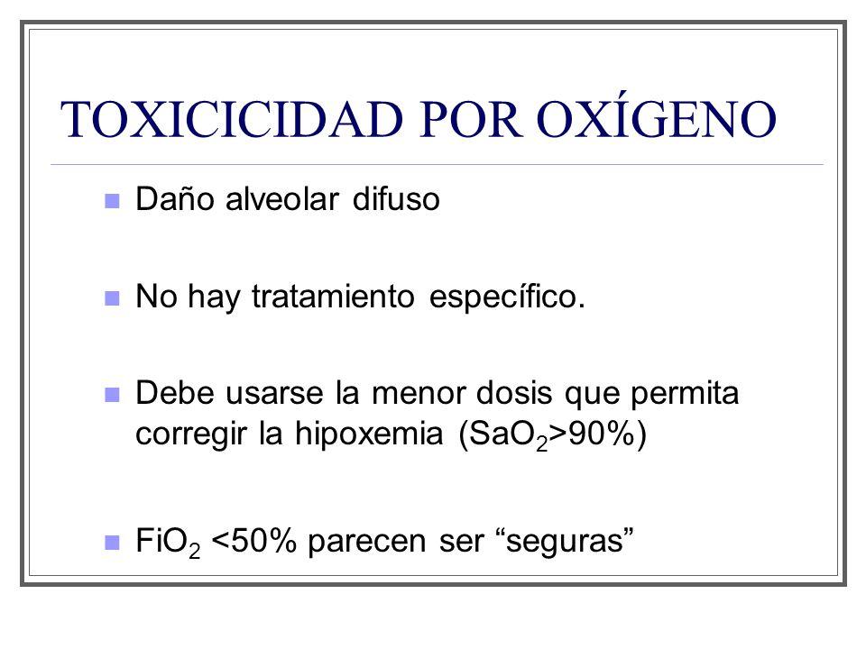TOXICICIDAD POR OXÍGENO Daño alveolar difuso No hay tratamiento específico. Debe usarse la menor dosis que permita corregir la hipoxemia (SaO 2 >90%)