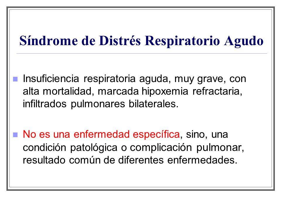 Síndrome de Distrés Respiratorio Agudo Insuficiencia respiratoria aguda, muy grave, con alta mortalidad, marcada hipoxemia refractaria, infiltrados pu