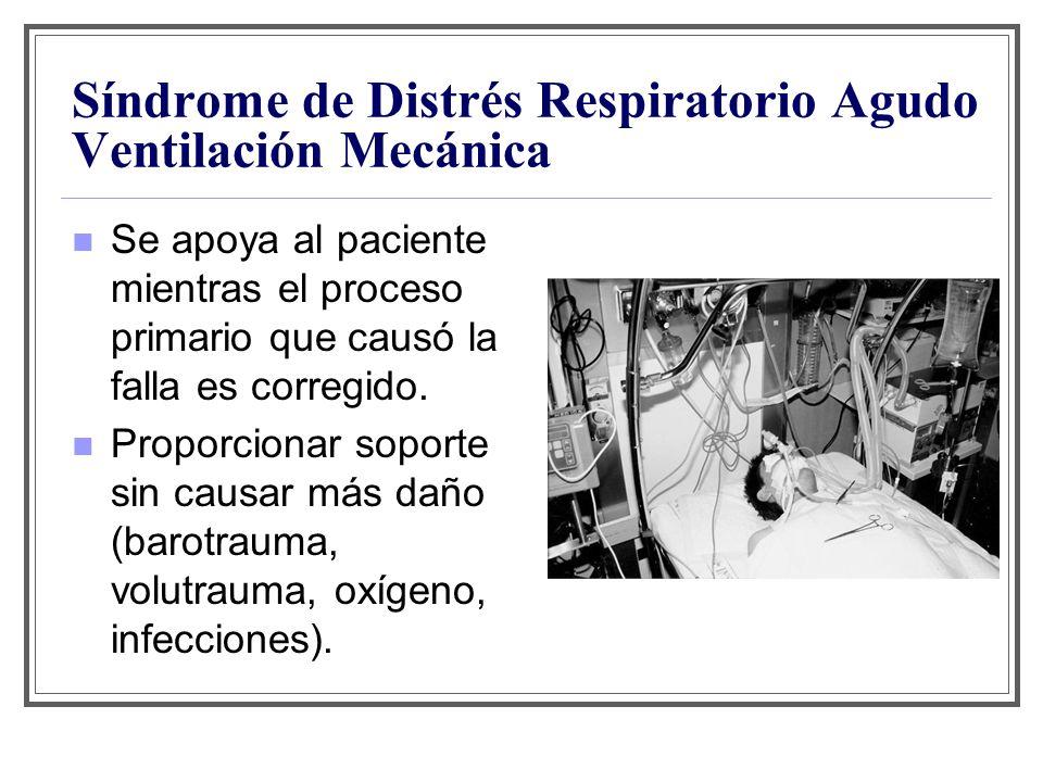 Síndrome de Distrés Respiratorio Agudo Ventilación Mecánica Se apoya al paciente mientras el proceso primario que causó la falla es corregido. Proporc
