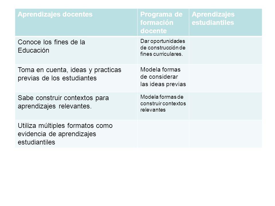 Aprendizajes docentesPrograma de formación docente Aprendizajes estudiantiles Conoce los fines de la Educación Dar oportunidades de construcción de fi