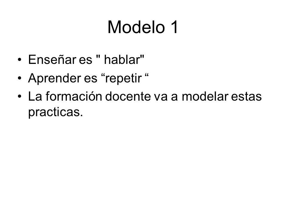 Modelo 1 Enseñar es hablar Aprender es repetir La formación docente va a modelar estas practicas.