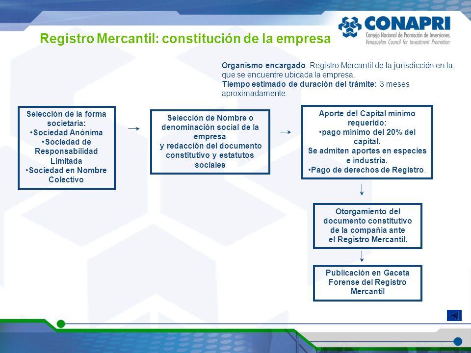 Registro Mercantil: constitución de la empresa Selección de la forma societaria: Sociedad Anónima Sociedad de Responsabilidad Limitada Sociedad en Nom