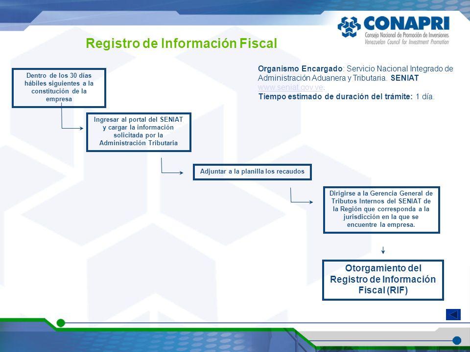 Registro de Información Fiscal Organismo Encargado: Servicio Nacional Integrado de Administración Aduanera y Tributaria. SENIAT www.seniat.gov.ve. www