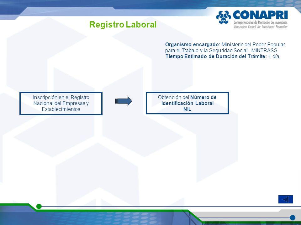 Registro Laboral Inscripción en el Registro Nacional del Empresas y Establecimientos Organismo encargado: Ministerio del Poder Popular para el Trabajo