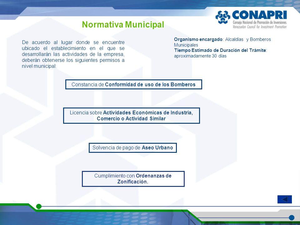 Normativa Municipal De acuerdo al lugar donde se encuentre ubicado el establecimiento en el que se desarrollarán las actividades de la empresa, deberá