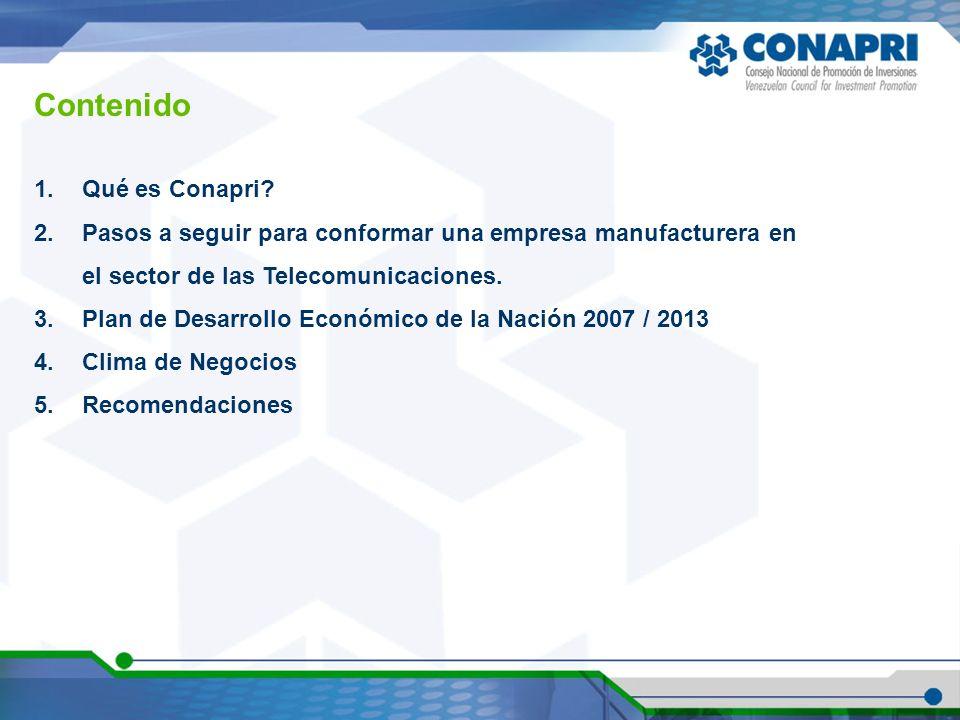 1.Qué es Conapri? 2.Pasos a seguir para conformar una empresa manufacturera en el sector de las Telecomunicaciones. 3.Plan de Desarrollo Económico de