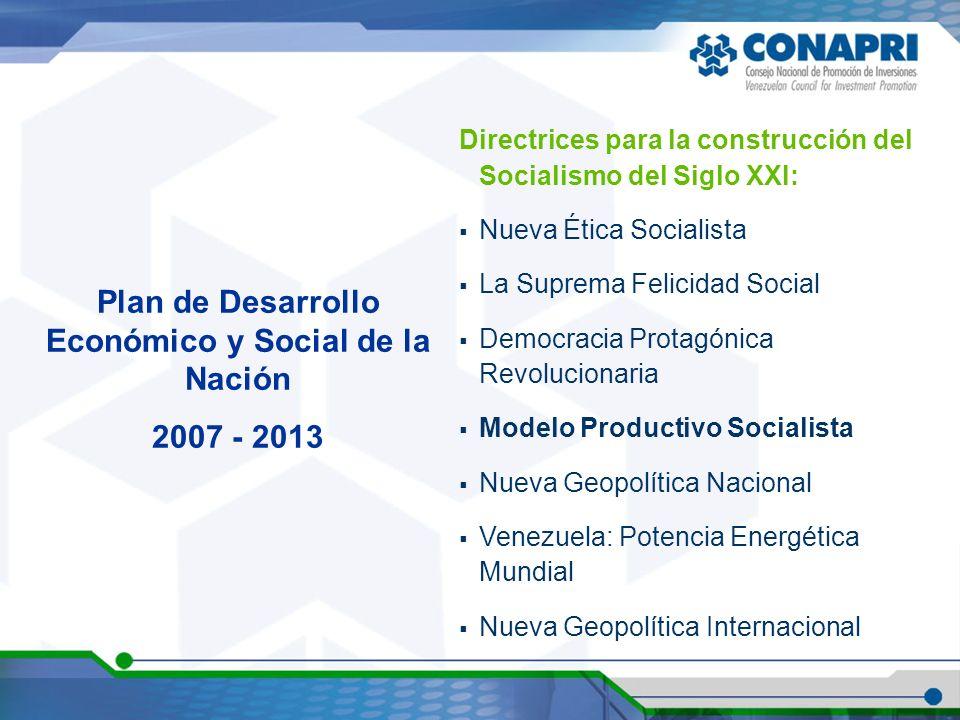 Plan de Desarrollo Económico y Social de la Nación 2007 - 2013 Directrices para la construcción del Socialismo del Siglo XXI: Nueva Ética Socialista L
