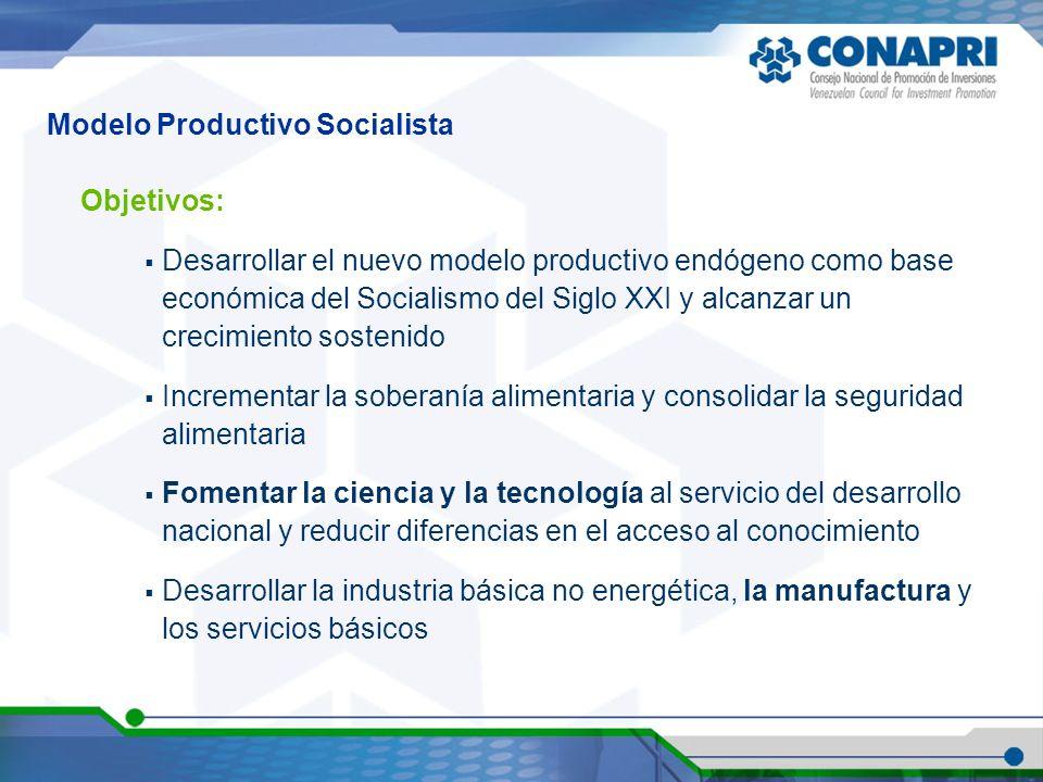 Objetivos: Desarrollar el nuevo modelo productivo endógeno como base económica del Socialismo del Siglo XXI y alcanzar un crecimiento sostenido Increm