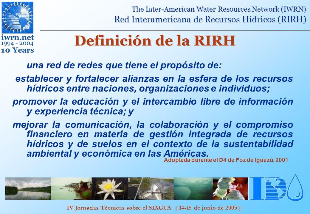 IV Jornadas Técnicas sobre el SIAGUA [ 14-15 de junio de 2005 ] The Inter-American Water Resources Network (IWRN) Red Interamericana de Recursos Hídricos (RIRH) DELTAMERICA Los websites de los nodos regionales albergarán un sistema de información dinámico que servirá para: promover la educación y el intercambio abierto de información y conocimientos técnicos en el idioma del pais fortalecer la comunicación, cooperación, y colaboración para la gestión integrada de los recursos hidricos
