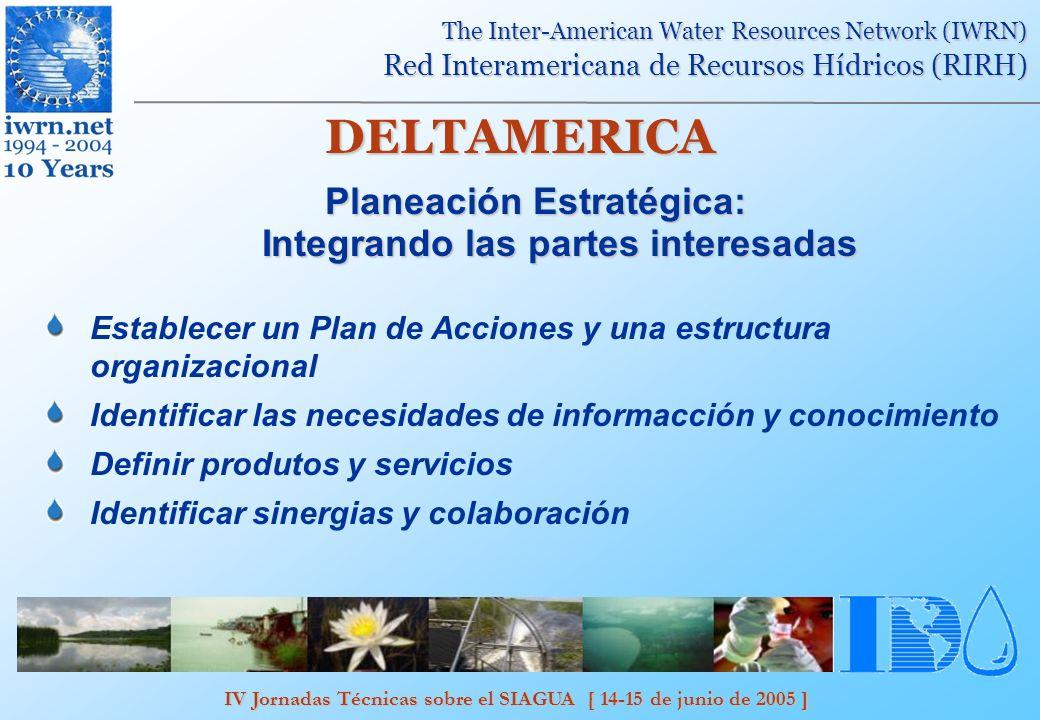 IV Jornadas Técnicas sobre el SIAGUA [ 14-15 de junio de 2005 ] The Inter-American Water Resources Network (IWRN) Red Interamericana de Recursos Hídricos (RIRH) DELTAMERICA Integrando las partes interesadas: Renovación del sítio web de la RIRH.