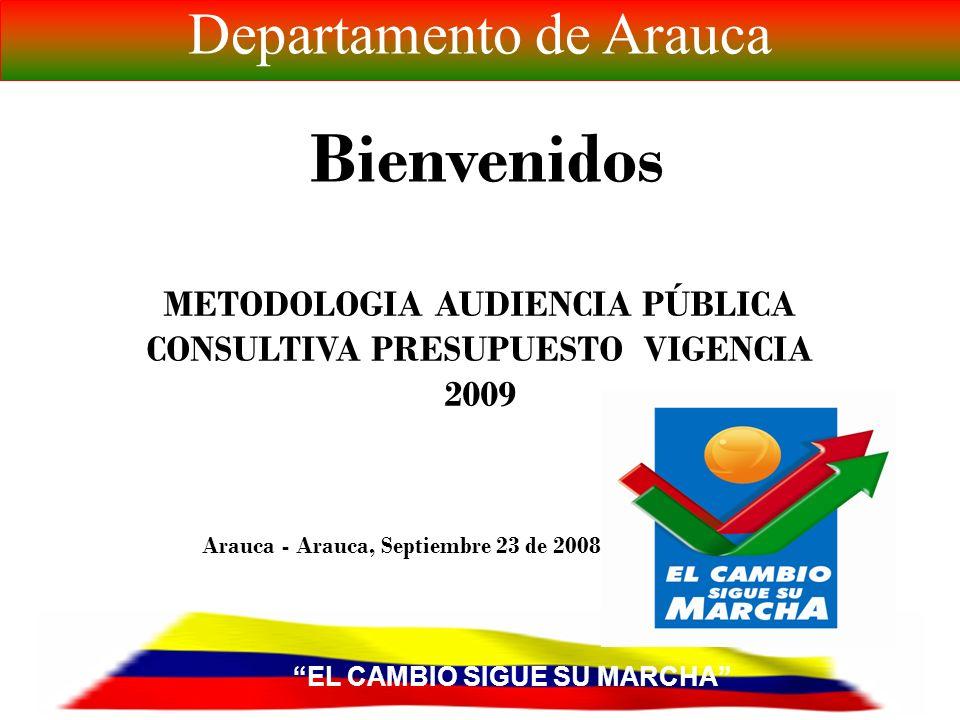 Arauca - Arauca, Septiembre 23 de 2008 Bienvenidos METODOLOGIA AUDIENCIA PÚBLICA CONSULTIVA PRESUPUESTO VIGENCIA 2009 EL CAMBIO SIGUE SU MARCHA Departamento de Arauca