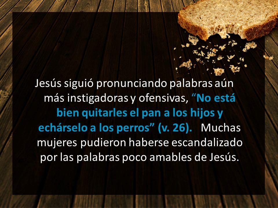 Jesús siguió pronunciando palabras aún más instigadoras y ofensivas, No está bien quitarles el pan a los hijos y echárselo a los perros (v. 26). Mucha