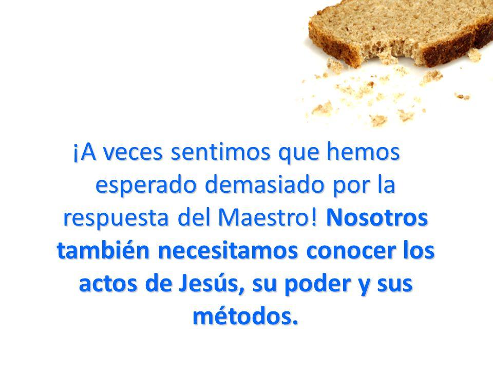 ¡A veces sentimos que hemos esperado demasiado por la respuesta del Maestro! Nosotros también necesitamos conocer los actos de Jesús, su poder y sus m