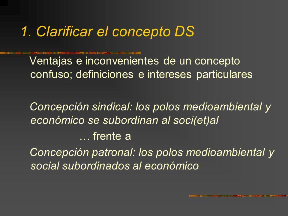 1. Clarificar el concepto DS Ventajas e inconvenientes de un concepto confuso; definiciones e intereses particulares Concepción sindical: los polos me