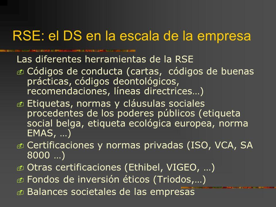 RSE: el DS en la escala de la empresa Las diferentes herramientas de la RSE Códigos de conducta (cartas, códigos de buenas prácticas, códigos deontológicos, recomendaciones, líneas directrices…) Etiquetas, normas y cláusulas sociales procedentes de los poderes públicos (etiqueta social belga, etiqueta ecológica europea, norma EMAS, …) Certificaciones y normas privadas (ISO, VCA, SA 8000 …) Otras certificaciones (Ethibel, VIGEO, …) Fondos de inversión éticos (Triodos,…) Balances societales de las empresas