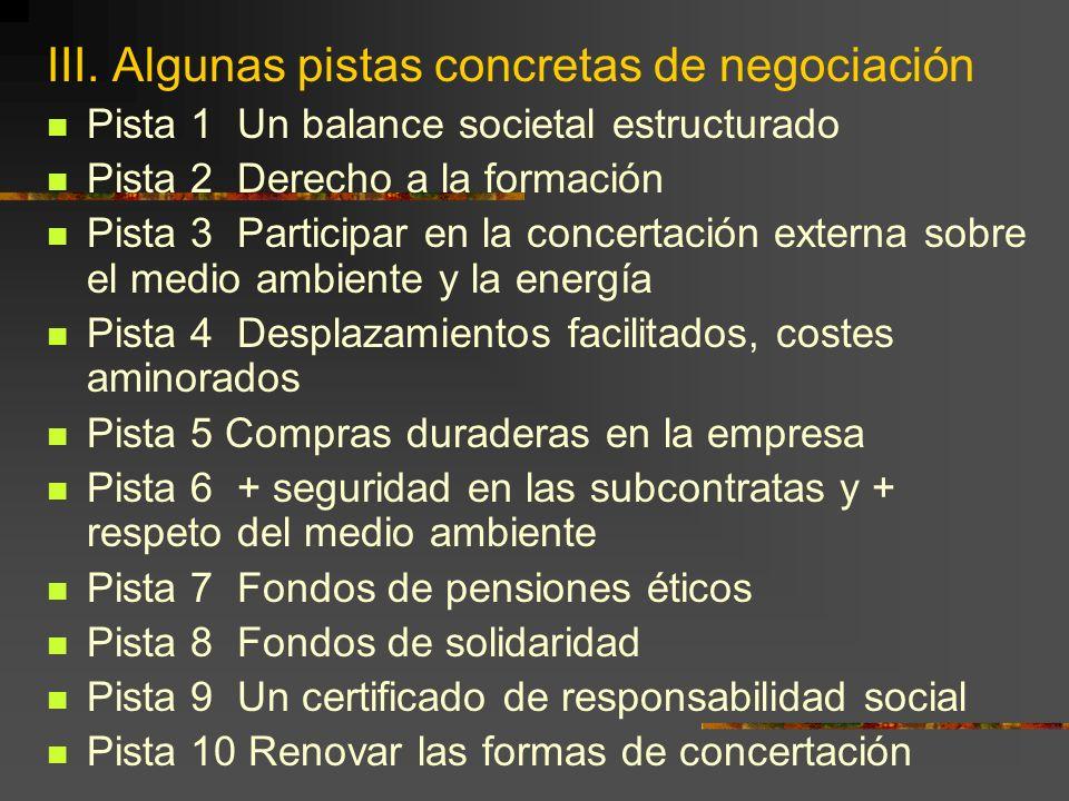 III. Algunas pistas concretas de negociación Pista 1 Un balance societal estructurado Pista 2 Derecho a la formación Pista 3 Participar en la concerta