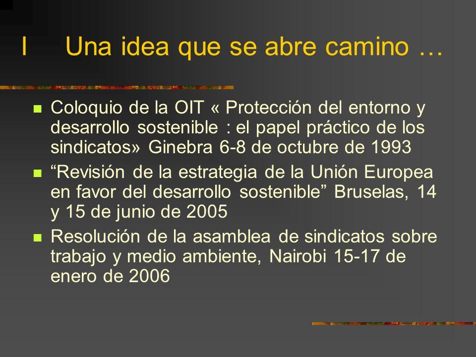 I Una idea que se abre camino … Coloquio de la OIT « Protección del entorno y desarrollo sostenible : el papel práctico de los sindicatos» Ginebra 6-8 de octubre de 1993 Revisión de la estrategia de la Unión Europea en favor del desarrollo sostenible Bruselas, 14 y 15 de junio de 2005 Resolución de la asamblea de sindicatos sobre trabajo y medio ambiente, Nairobi 15-17 de enero de 2006
