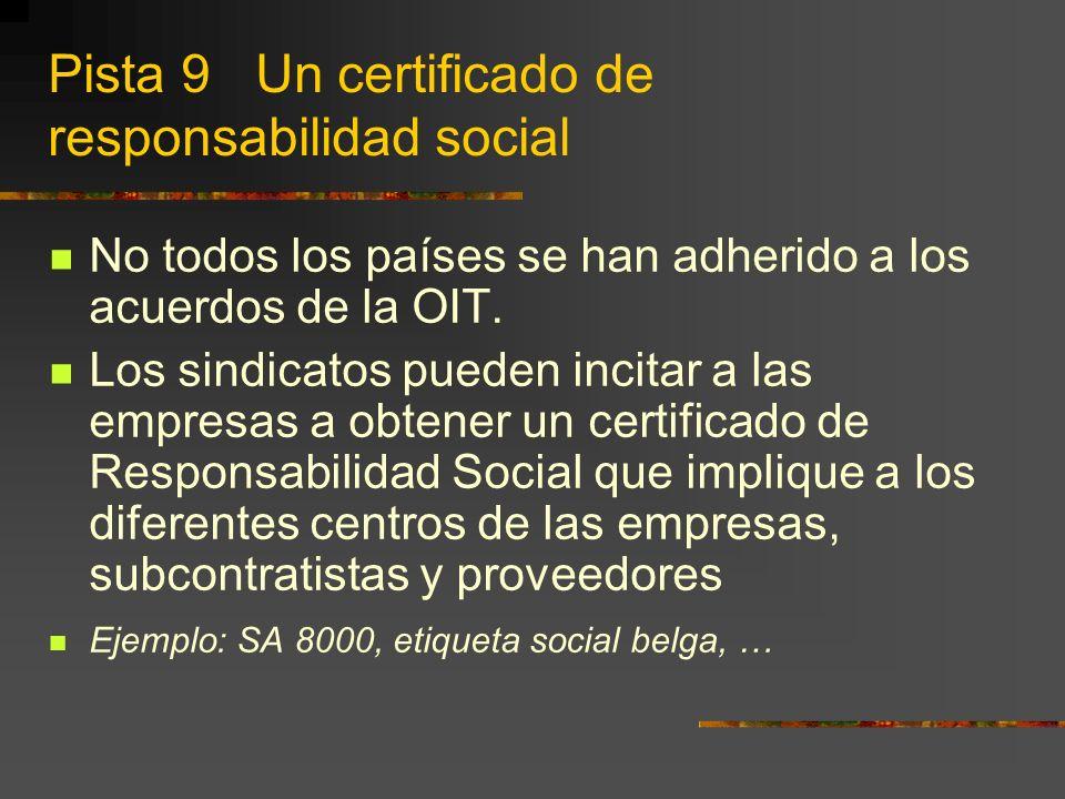 Pista 9 Un certificado de responsabilidad social No todos los países se han adherido a los acuerdos de la OIT.