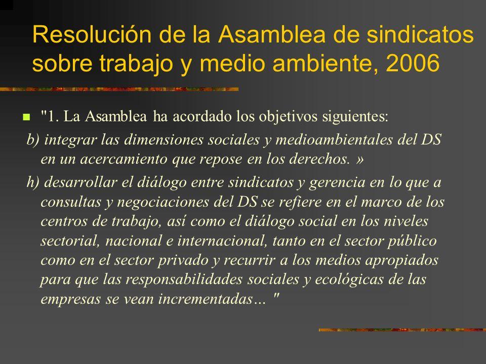 Resolución de la Asamblea de sindicatos sobre trabajo y medio ambiente, 2006 1.