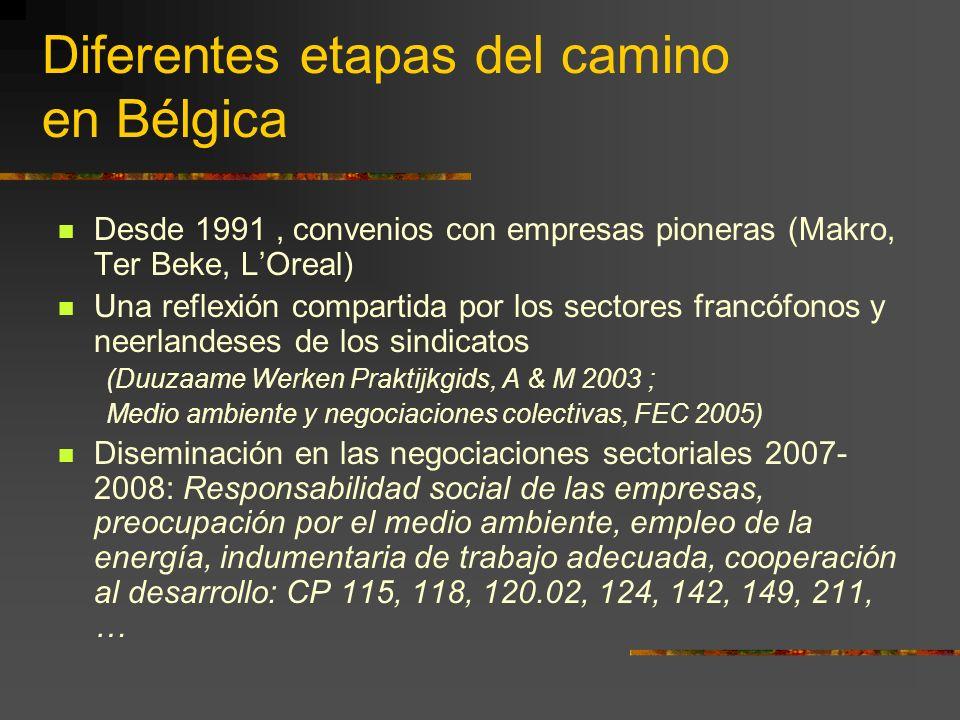 Diferentes etapas del camino en Bélgica Desde 1991, convenios con empresas pioneras (Makro, Ter Beke, LOreal) Una reflexión compartida por los sectores francófonos y neerlandeses de los sindicatos (Duuzaame Werken Praktijkgids, A & M 2003 ; Medio ambiente y negociaciones colectivas, FEC 2005) Diseminación en las negociaciones sectoriales 2007- 2008: Responsabilidad social de las empresas, preocupación por el medio ambiente, empleo de la energía, indumentaria de trabajo adecuada, cooperación al desarrollo: CP 115, 118, 120.02, 124, 142, 149, 211, …