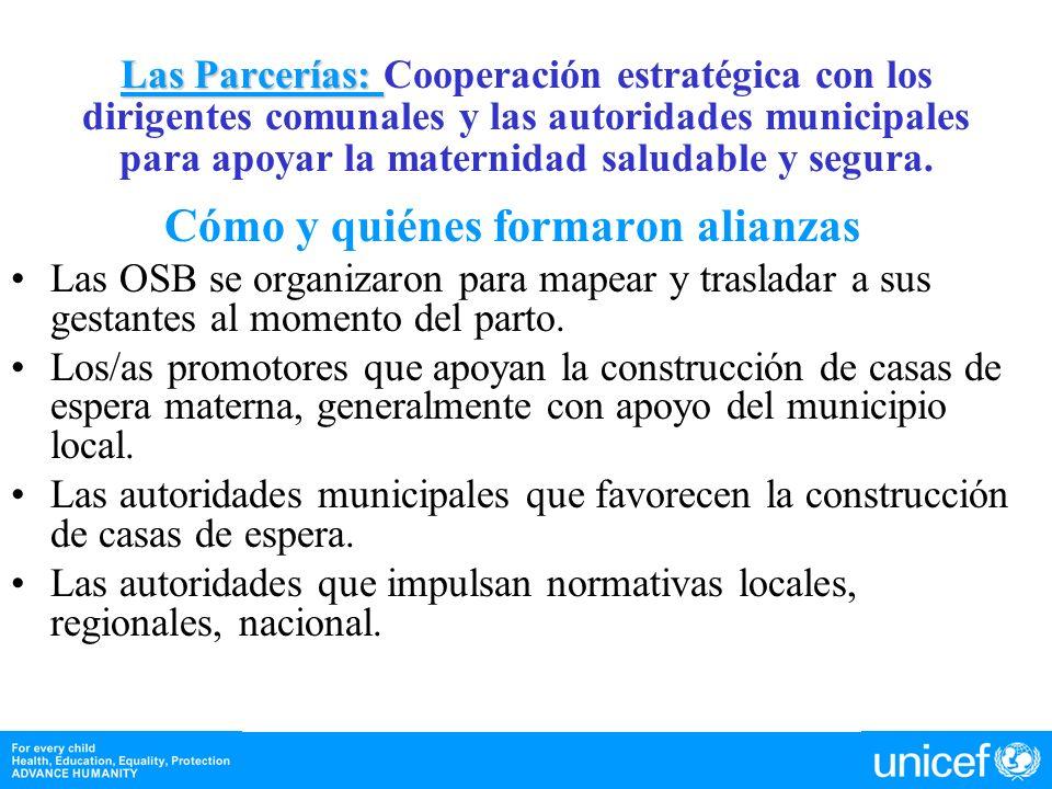 Las Parcerías: Las Parcerías: Cooperación estratégica con los dirigentes comunales y las autoridades municipales para apoyar la maternidad saludable y