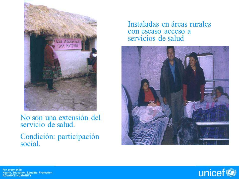 Instaladas en áreas rurales con escaso acceso a servicios de salud No son una extensión del servicio de salud. Condición: participación social.