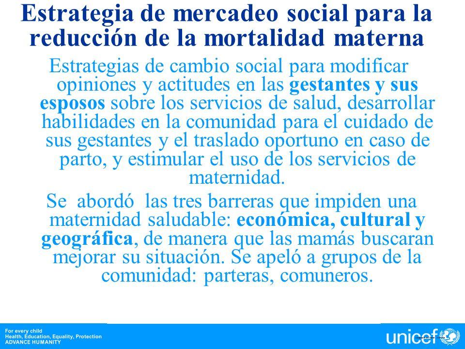 Estrategia de mercadeo social para la reducción de la mortalidad materna Estrategias de cambio social para modificar opiniones y actitudes en las gest