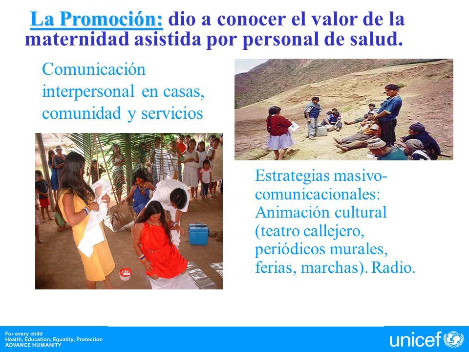 La Promoción: La Promoción: dio a conocer el valor de la maternidad asistida por personal de salud. Comunicación interpersonal en casas, comunidad y s
