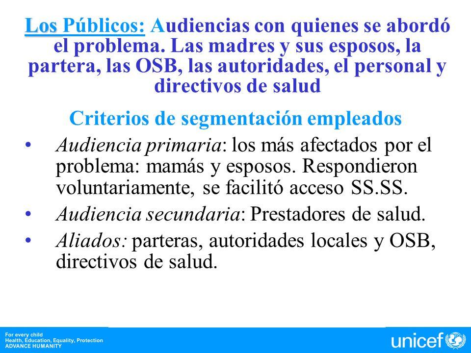 Los Los Públicos: Audiencias con quienes se abordó el problema. Las madres y sus esposos, la partera, las OSB, las autoridades, el personal y directiv