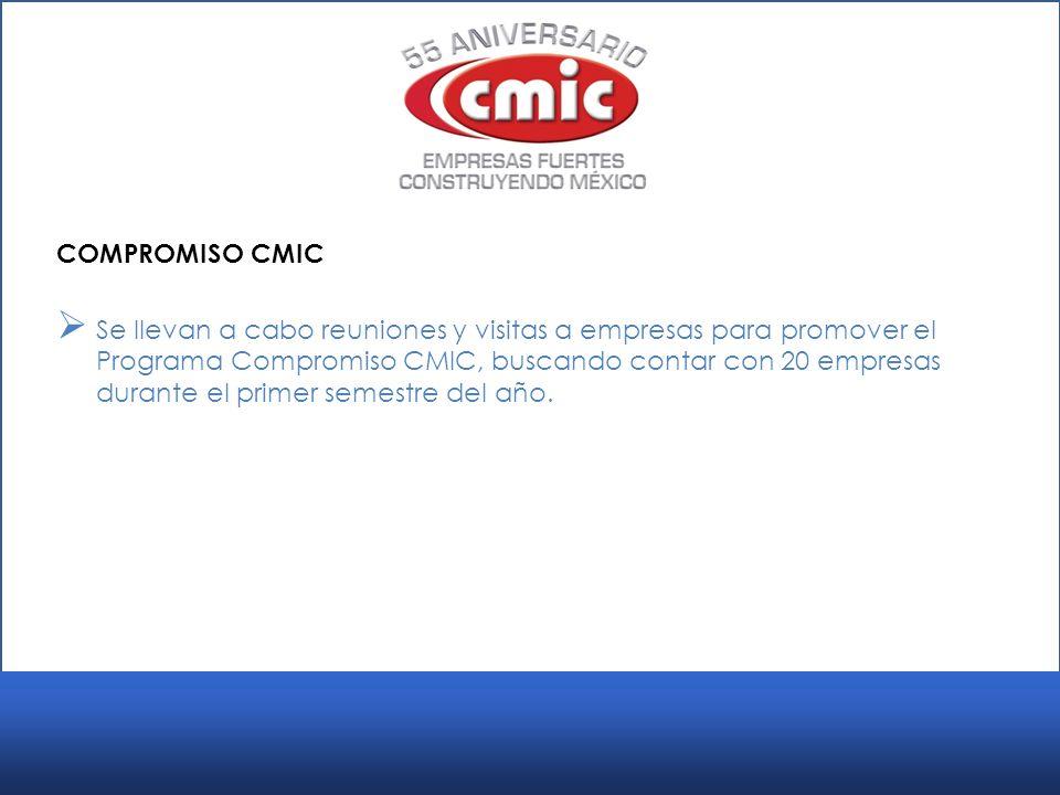 COMPROMISO CMIC Se llevan a cabo reuniones y visitas a empresas para promover el Programa Compromiso CMIC, buscando contar con 20 empresas durante el primer semestre del año.