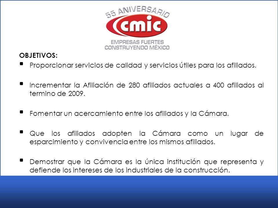 OBJETIVOS: Proporcionar servicios de calidad y servicios útiles para los afiliados.