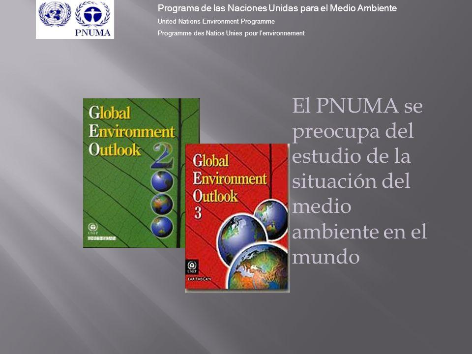 (GEO 2000) En el informe denominado PMAM 2000 (Perspectivas del Medio Ambiente Mundial), participaron más de 850 expertos, 30 institutos ambientales y agencias de las Naciones Unidas.