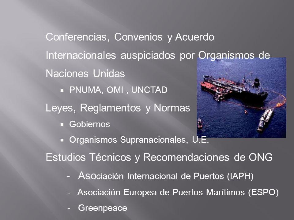 Conferencias, Convenios y Acuerdo Internacionales auspiciados por Organismos de Naciones Unidas PNUMA, OMI, UNCTAD Leyes, Reglamentos y Normas Gobiern