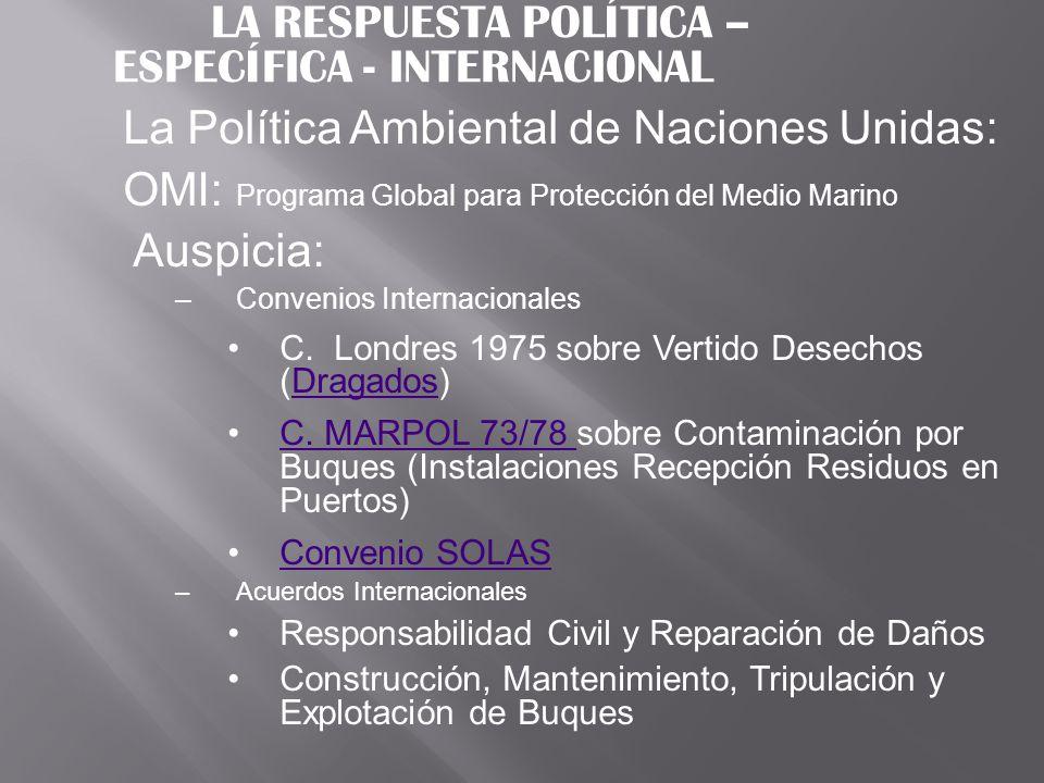 LA RESPUESTA POLÍTICA – ESPECÍFICA - INTERNACIONAL La Política Ambiental de Naciones Unidas: OMI: Programa Global para Protección del Medio Marino Aus