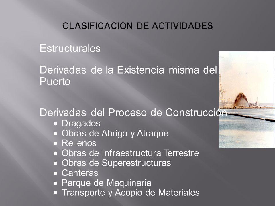 Estructurales Derivadas de la Existencia misma del Puerto Derivadas del Proceso de Construcción Dragados Obras de Abrigo y Atraque Rellenos Obras de I