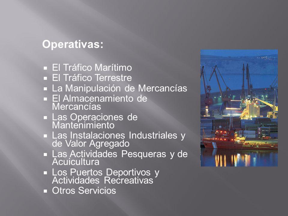 Operativas: El Tráfico Marítimo El Tráfico Terrestre La Manipulación de Mercancías El Almacenamiento de Mercancías Las Operaciones de Mantenimiento La