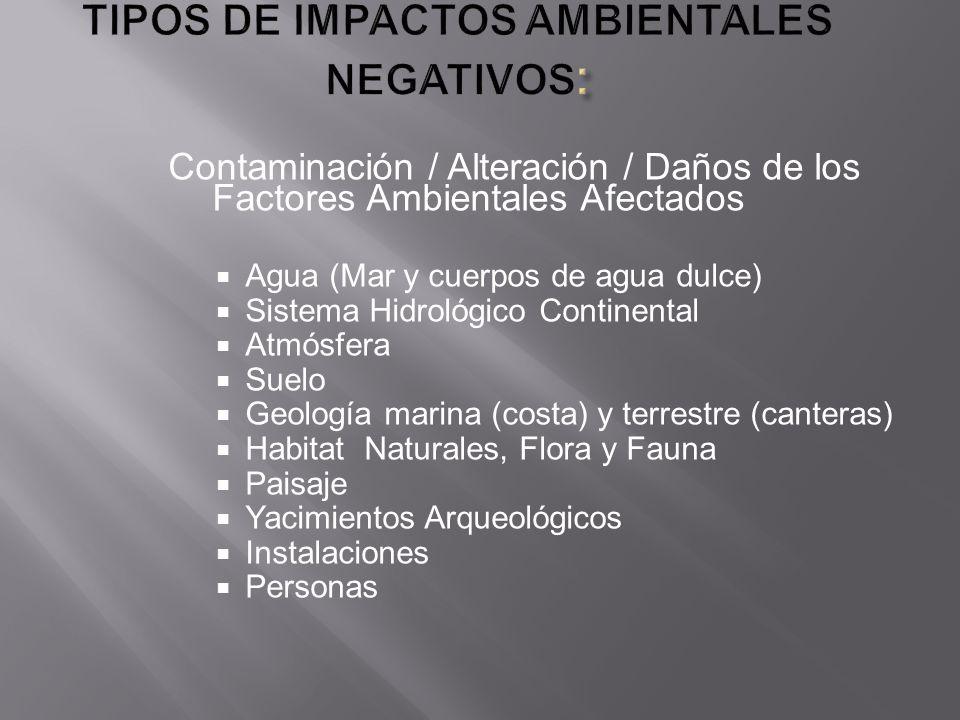 Contaminación / Alteración / Daños de los Factores Ambientales Afectados Agua (Mar y cuerpos de agua dulce) Sistema Hidrológico Continental Atmósfera