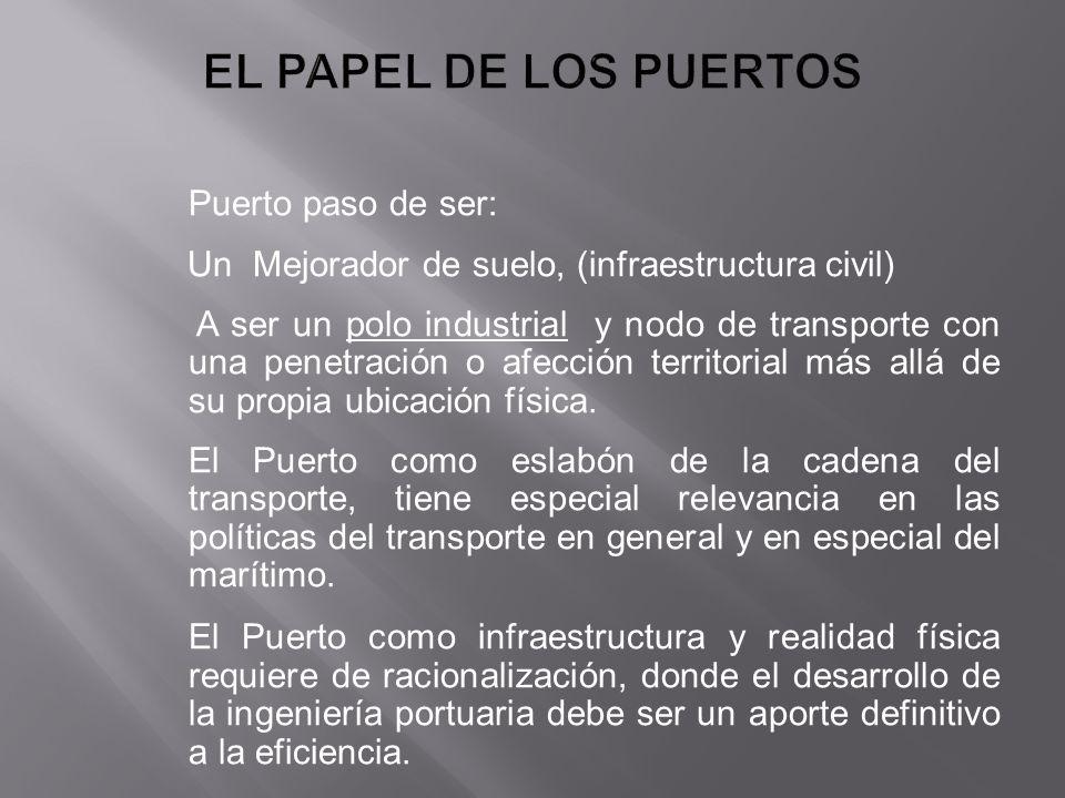 Puerto paso de ser: Un Mejorador de suelo, (infraestructura civil) A ser un polo industrial y nodo de transporte con una penetración o afección territ