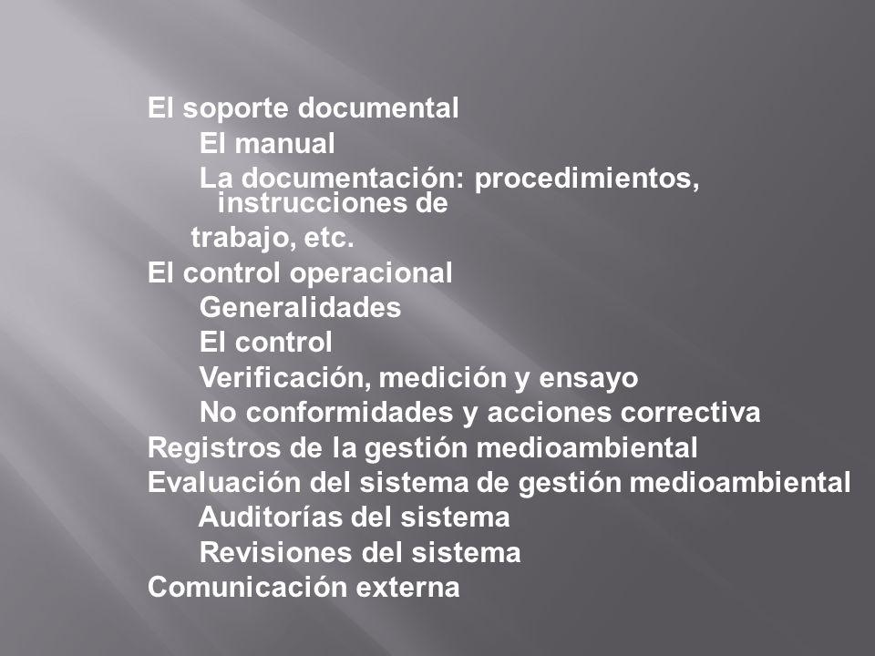 El soporte documental El manual La documentación: procedimientos, instrucciones de trabajo, etc. El control operacional Generalidades El control Verif