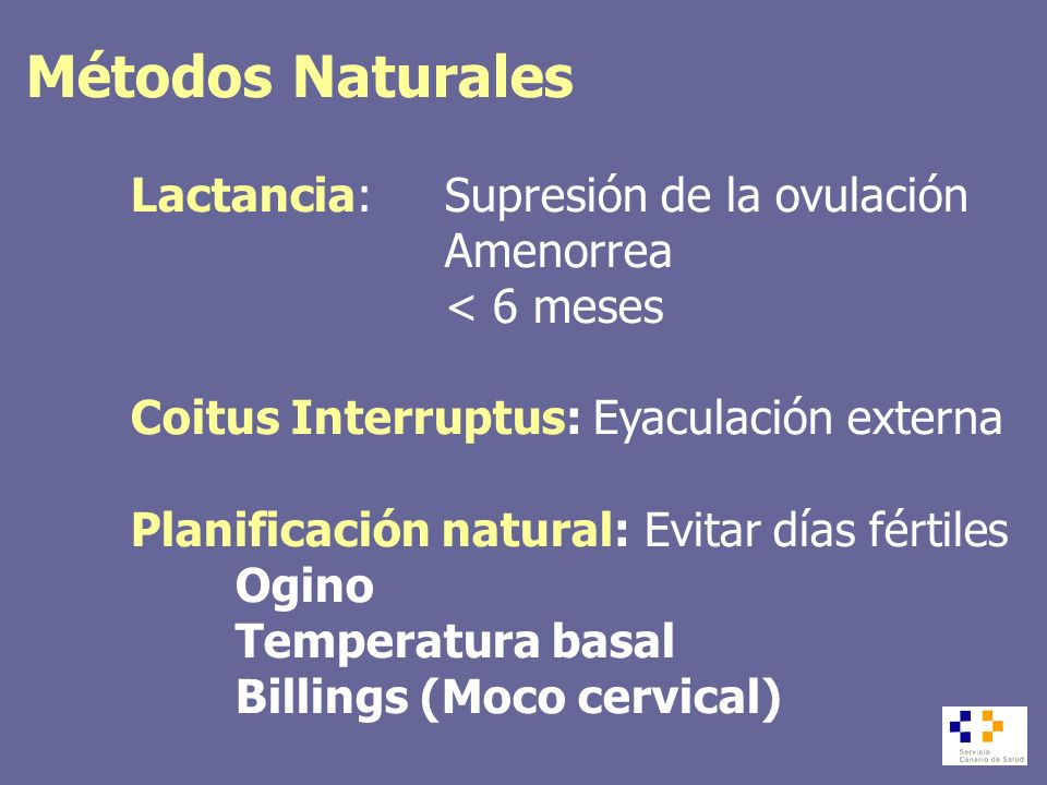 Métodos Naturales Lactancia: Supresión de la ovulación Amenorrea < 6 meses Coitus Interruptus: Eyaculación externa Planificación natural: Evitar días