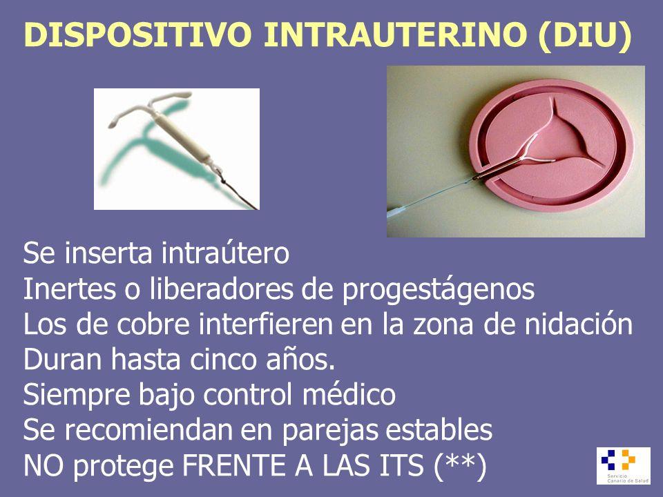 DISPOSITIVO INTRAUTERINO (DIU) Se inserta intraútero Inertes o liberadores de progestágenos Los de cobre interfieren en la zona de nidación Duran hast