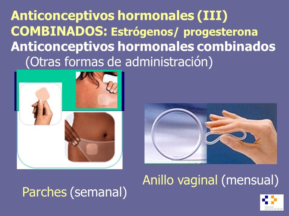 Anticonceptivos hormonales (III) COMBINADOS: Estrógenos/ progesterona Anticonceptivos hormonales combinados (Otras formas de administración) Parches (