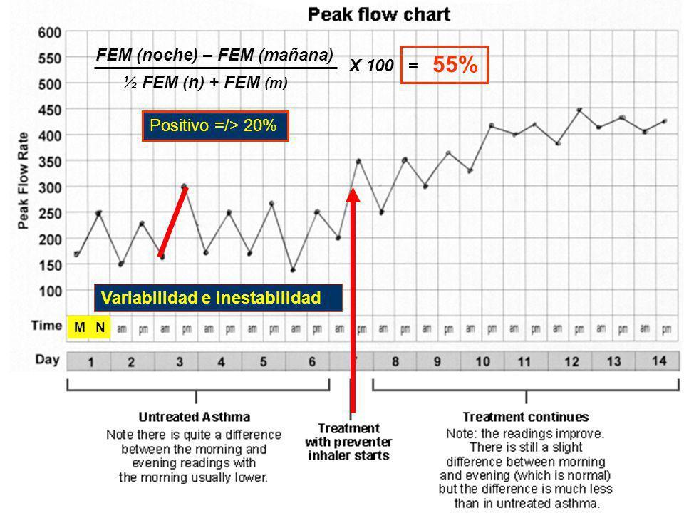 FEM (noche) – FEM (mañana) ½ FEM (n) + FEM (m) X 100 = 55% Positivo =/> 20% Variabilidad e inestabilidad MN