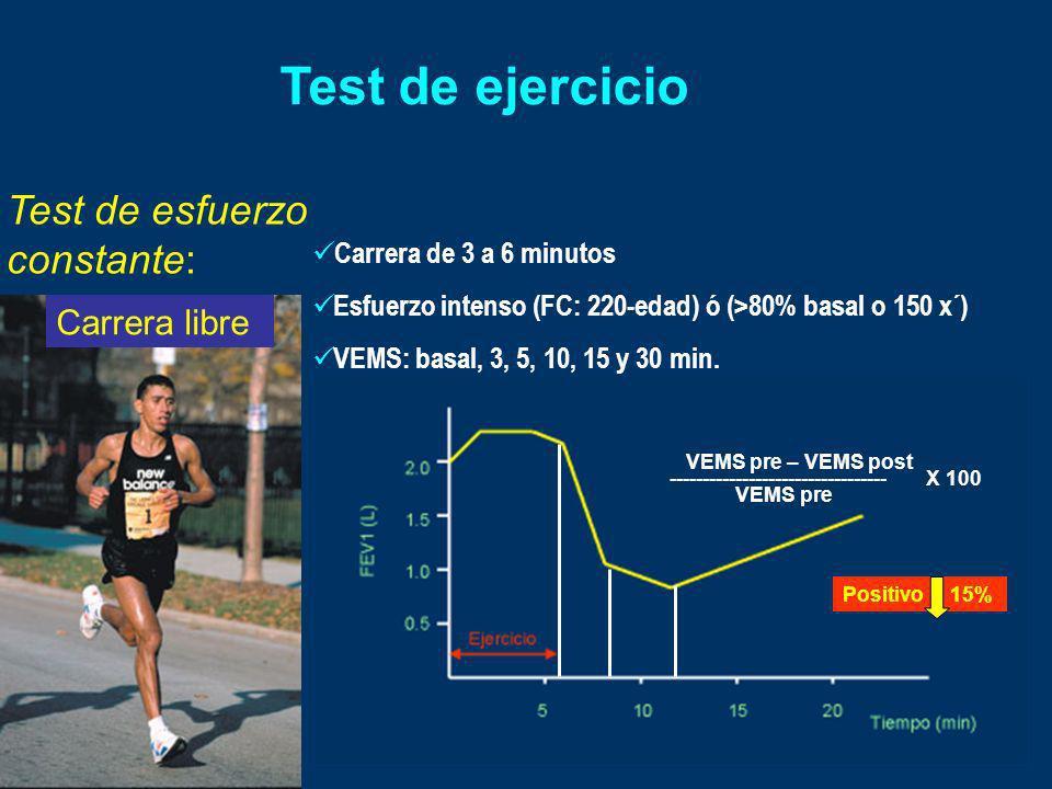 Test de ejercicio Test de esfuerzo constante: Carrera libre Carrera de 3 a 6 minutos Esfuerzo intenso (FC: 220-edad) ó (>80% basal o 150 x´) VEMS: bas