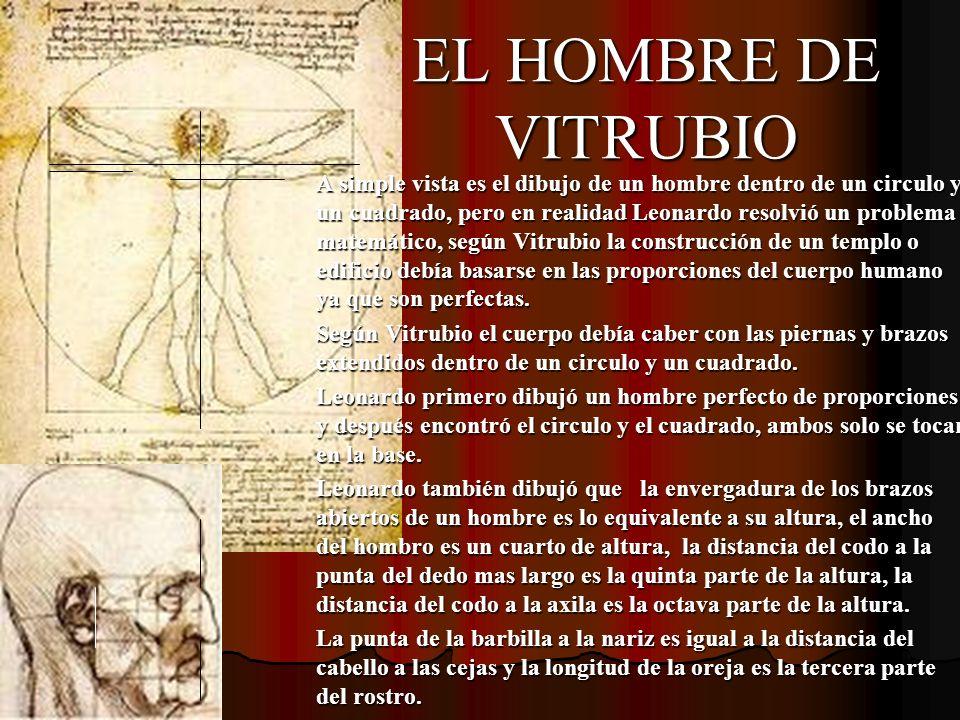 EL HOMBRE DE VITRUBIO A simple vista es el dibujo de un hombre dentro de un circulo y un cuadrado, pero en realidad Leonardo resolvió un problema mate