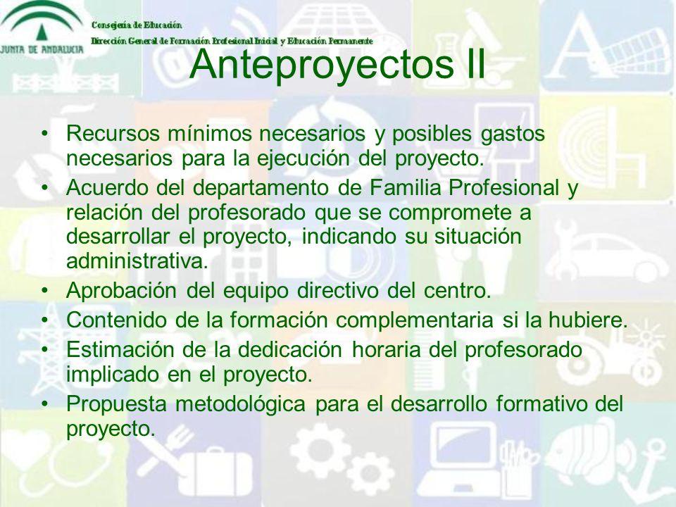 Anteproyectos II Recursos mínimos necesarios y posibles gastos necesarios para la ejecución del proyecto. Acuerdo del departamento de Familia Profesio