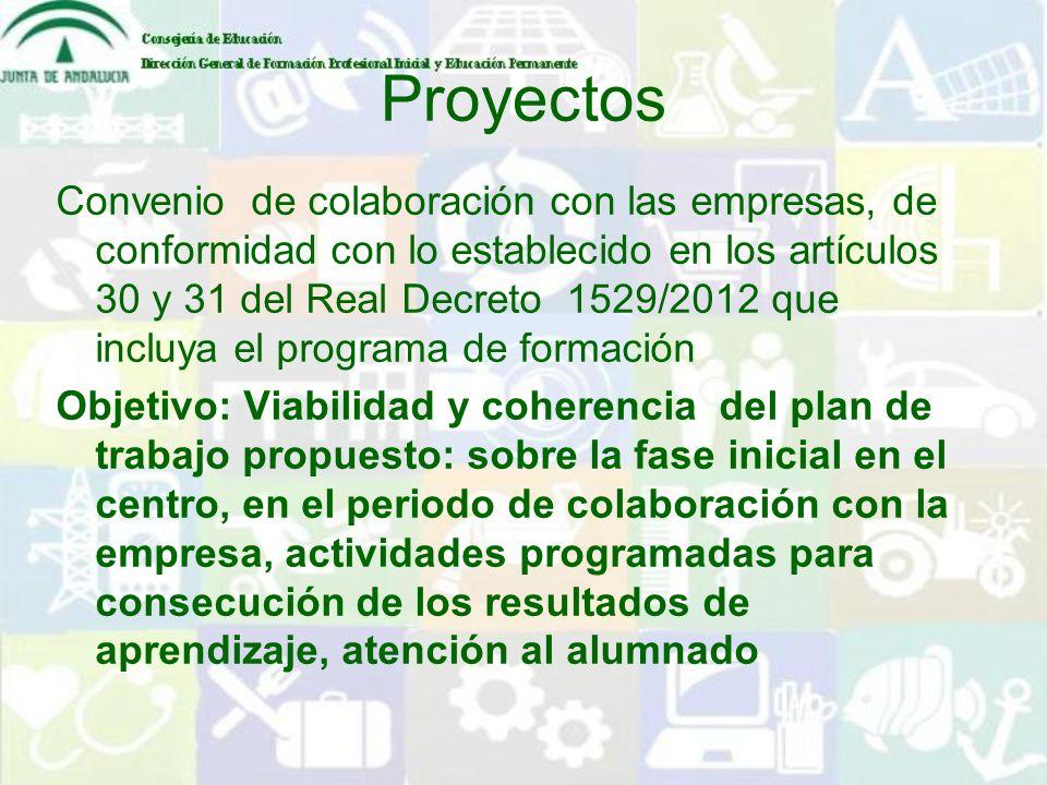Proyectos Convenio de colaboración con las empresas, de conformidad con lo establecido en los artículos 30 y 31 del Real Decreto 1529/2012 que incluya