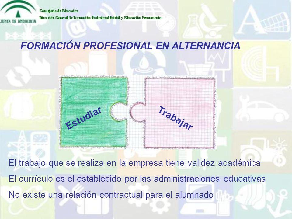 FORMACIÓN PROFESIONAL EN ALTERNANCIA Estudiar Trabajar El trabajo que se realiza en la empresa tiene validez académica El currículo es el establecido