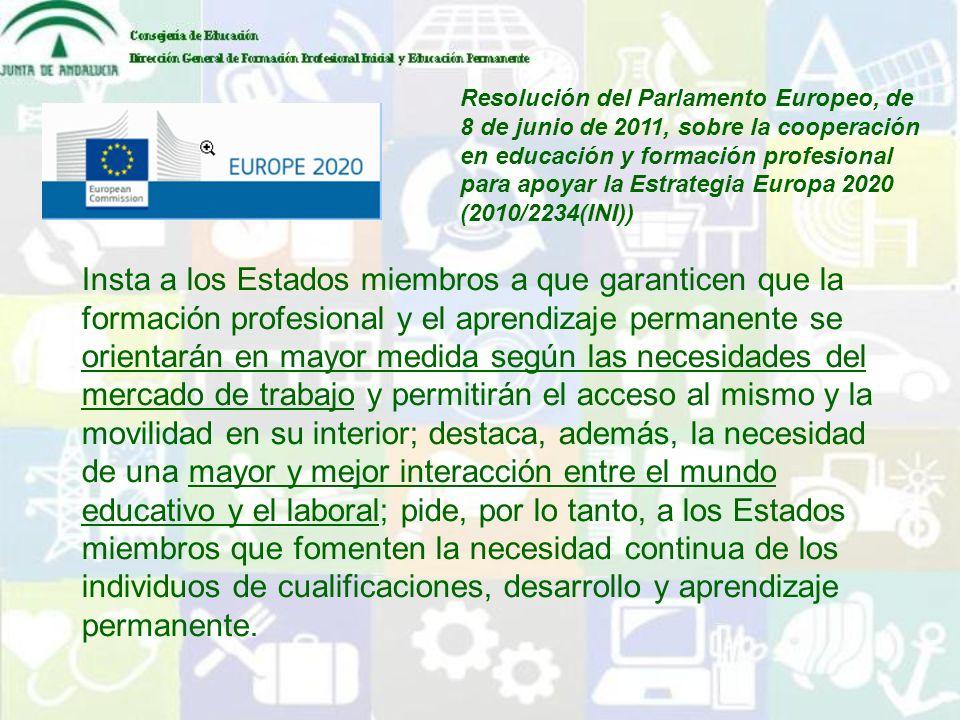 Resolución del Parlamento Europeo, de 8 de junio de 2011, sobre la cooperación en educación y formación profesional para apoyar la Estrategia Europa 2