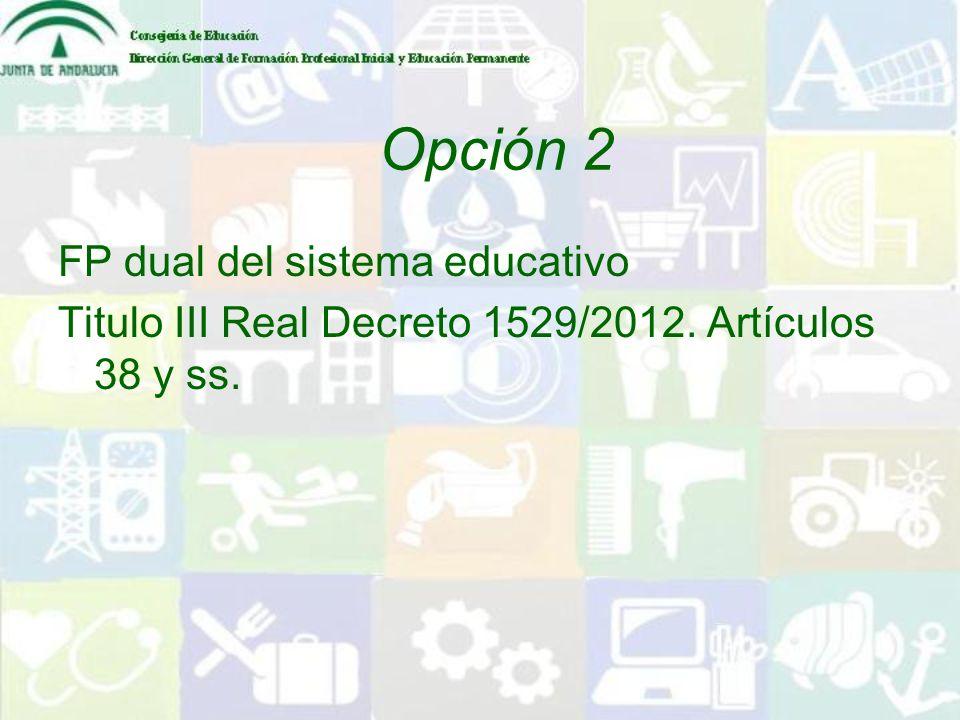 Opción 2 FP dual del sistema educativo Titulo III Real Decreto 1529/2012. Artículos 38 y ss.